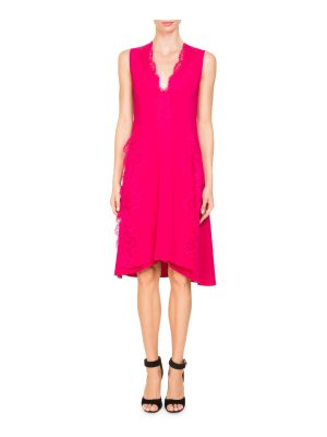 Givenchy V-Neck Sleeveless Stretch-Cady Cocktail Dress with Lace