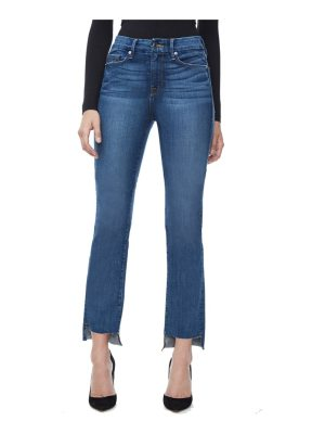 GOOD AMERICAN good straight raw hem high waist straight leg jeans