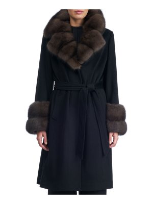 Gorski Belted Cashmere-Wool Coat with Sable Notched Collar and Cuffs