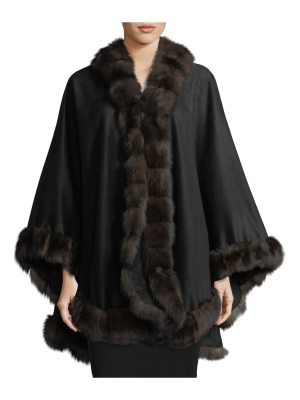 Gorski Cashmere Cape w/ Sable Fur Trim