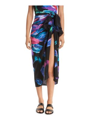 Gottex Reverie Feather-Printed Silk Pareo Coverup