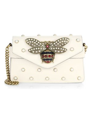Gucci broadway bee studded leather chain clutch