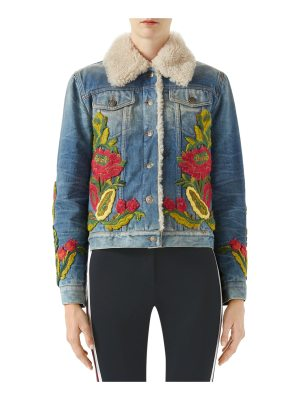 Gucci Floral-Embroidered Denim Jacket w/ Shearling Fur
