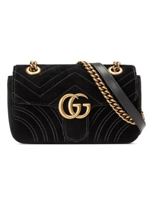 Gucci GG Marmont Mini Quilted Velvet Crossbody Bag