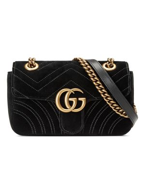 Gucci GG Marmont Small Quilted Velvet Crossbody Bag
