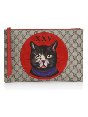 Gucci gg supreme mystic cat clutch