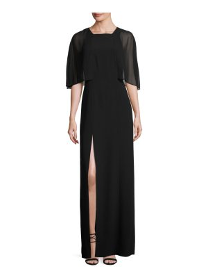 Halston Cape-Sleeve Stretch Crepe Gown