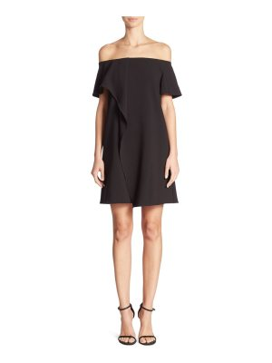 Halston cold-shoulder asymmetrical drape dress