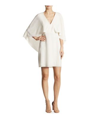 Halston cape-sleeve crepe dress