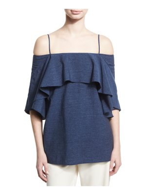Halston Flowy Cold-Shoulder Denim Top