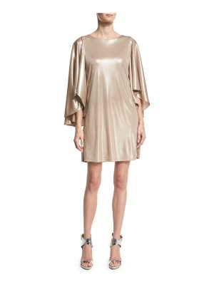 Halston Metallic Jersey Cape-Sleeve Dress