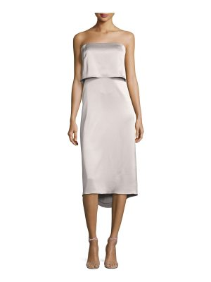Halston Strapless Satin Popover Cocktail Dress