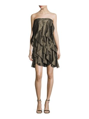 Halston Strapless Striped Metallic Flounce Cocktail Dress