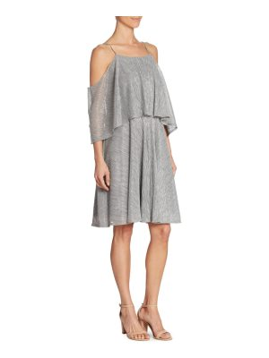 Halston textured metallic cold-shoulder dress