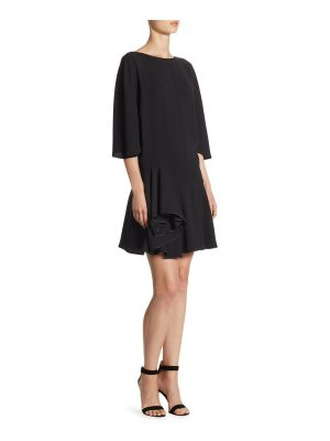 Halston wide-sleeve roundneck dress