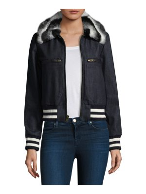 Harvey Faircloth faux fur collar bomber jacket