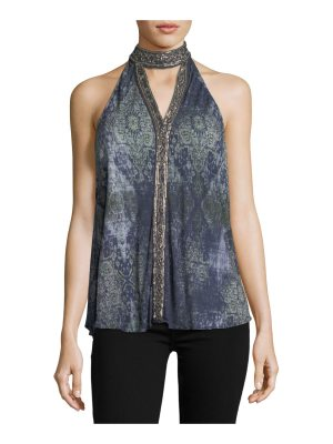 Haute Hippie In The Wild Sleeveless Printed Halter Top
