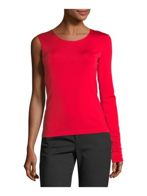 Helmut Lang Crewneck One-Sleeve Fitted Top