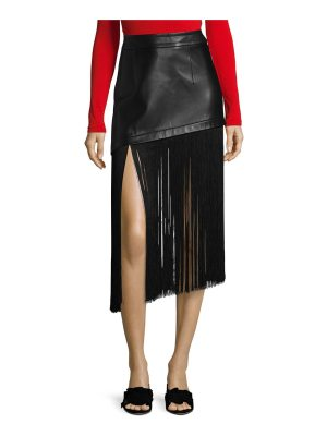 Helmut Lang fringe hem mini leather skirt