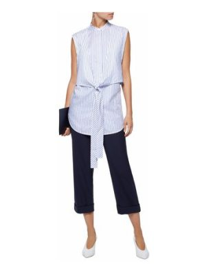 Helmut Lang tie-front layered striped cotton