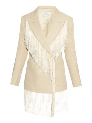 HILLIER BARTLEY Fringed Double Breasted Linen Blazer