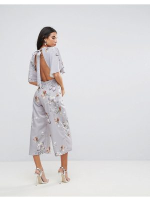 Hope and Ivy Hope & Ivy Floral & Bird Print Kimono Jumpsuit