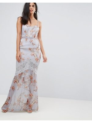 Hope and Ivy Hope & Ivy Floral Cami Maxi Dress With Eyelash Lace Trim