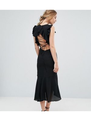 Hope and Ivy Hope & Ivy Frill Detail Lace Back Midi Dress
