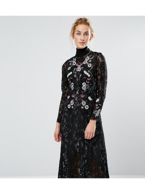 Hope and Ivy Hope & Ivy Midi Dress in Lace and Embroidery