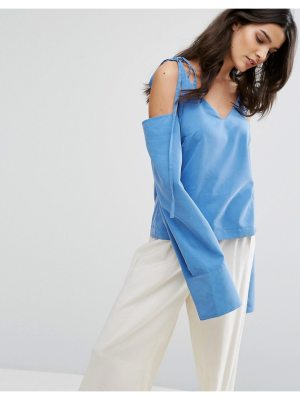 House of Sunny House Of Sunny Cold Shoulder Top With Tie Details