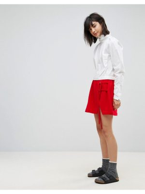 House of Sunny mini skirt with double tie detail-red