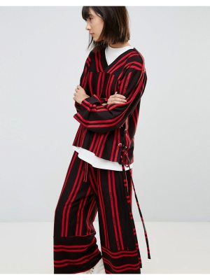 House of Sunny House Of Sunny Tie Side Top In Stripe Co-Ord