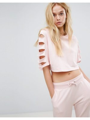 Hoxton Haus slashed sleeve sweatshirt-pink