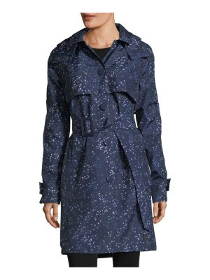 Hunter Star-Print Belted Snap-Front Trench Coat