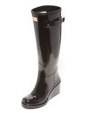 Hunter original refined mid wedge tall boots