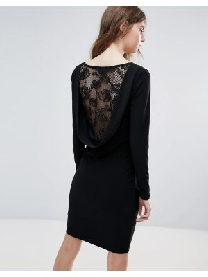 Ichi lace insert back bodycon dress-black