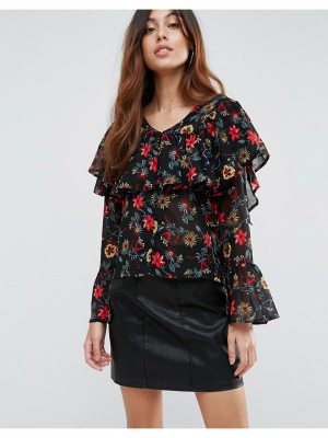 Influence Button Front Floral Ruffle Blouse