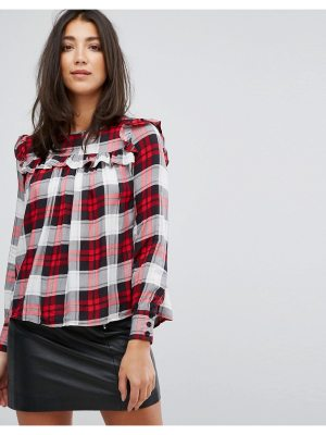 Influence Check Top With Ruffle Front