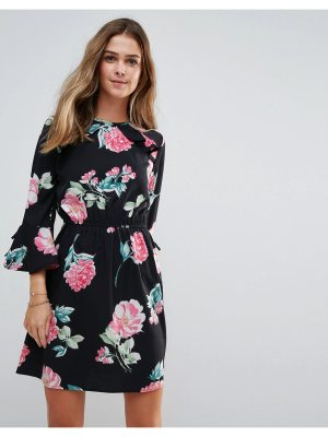 Influence Floral Open Back Dress With Ruffle Detail