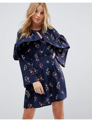 Influence Frill Keyhole Front Floral Dress