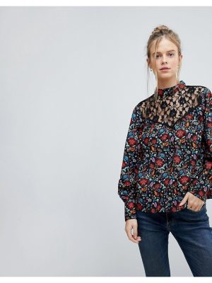 Influence high neck floral top with lace yoke and blouson sleeve