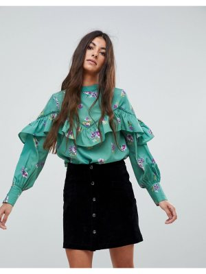 Influence High Neck Ruffle Front Blouson Sleeve Top In Floral Print