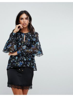 Influence ruffle front floral blouson sleeve top