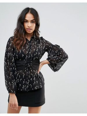 Influence Floral Shirt With Corset