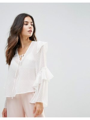 Influence Tie Neck Top With Ruffle Sleeves