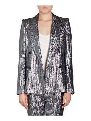 Isabel Marant Denel Double-Breasted Lamé Cocktail Blazer
