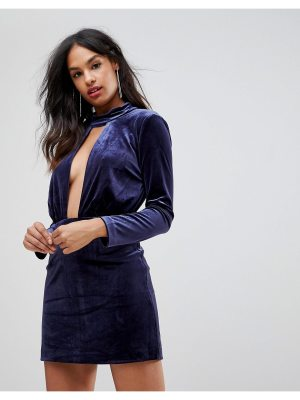 Isla doubt me deep v-neck party dress-navy