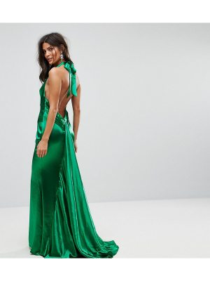 JARLO High Neck Fishtail Maxi Dress With Open Back Detail
