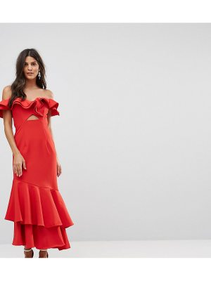 JARLO Ruffle Bardot Maxi Dress With Cut Out