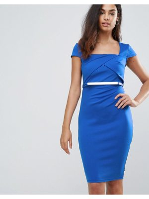 Jessica Wright Belted Capped Sleeve Midi Dress